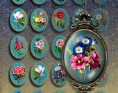 FLOWERs - 30x40 mm Digital Collage Sheet Printable download oval images for bezel cabs glass and resin pendants