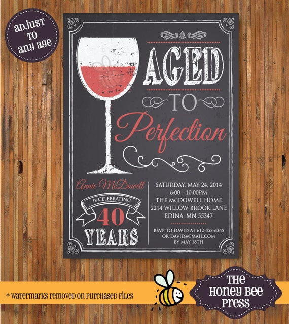Wine birthday invitation Aged to Perfection Chalk Board