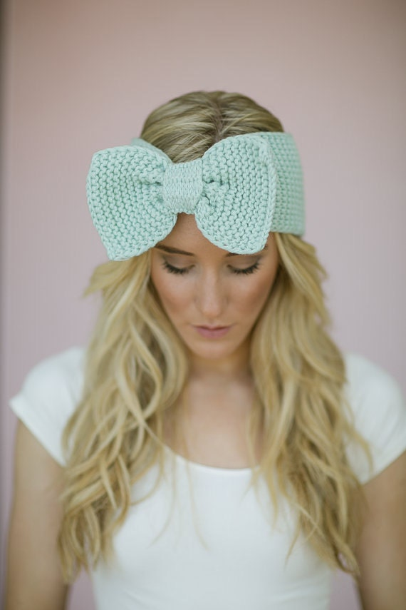 Mint Knitted BOW Headband Ear Warmer Dark Aqua by ThreeBirdNest