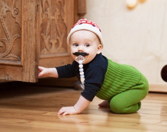 Baby Pants Trousers Leggings Clothing Knit Wool Warm Slim fit Boy Girl Wooden Button Green
