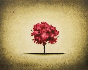 Art Print. Red Tree. Blue Hummingbird. The End