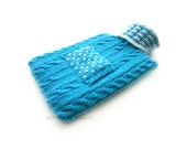 Blue and White Knit Hot-water Bottle Cover