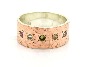 Tourmaline ring, rose gold & silver, hammered band
