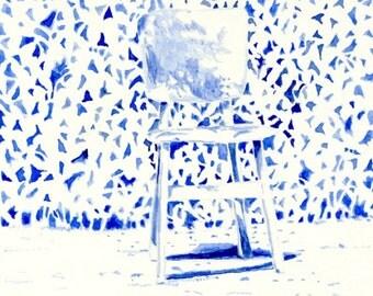 Landscape Art Print  -- Chair  in the Garden