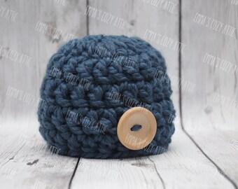 Newborn boy hat, baby boy beanie, denim blue, newborn photo prop, coming home outfit, baby boy clothes, newborn boy clothes, infant boy hat