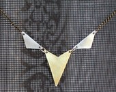 Brass and Silver Arrowhead Necklace- Geometric Necklace- Tribal Necklace- Mixed Metal Necklace- Brass Patina and Aluminum