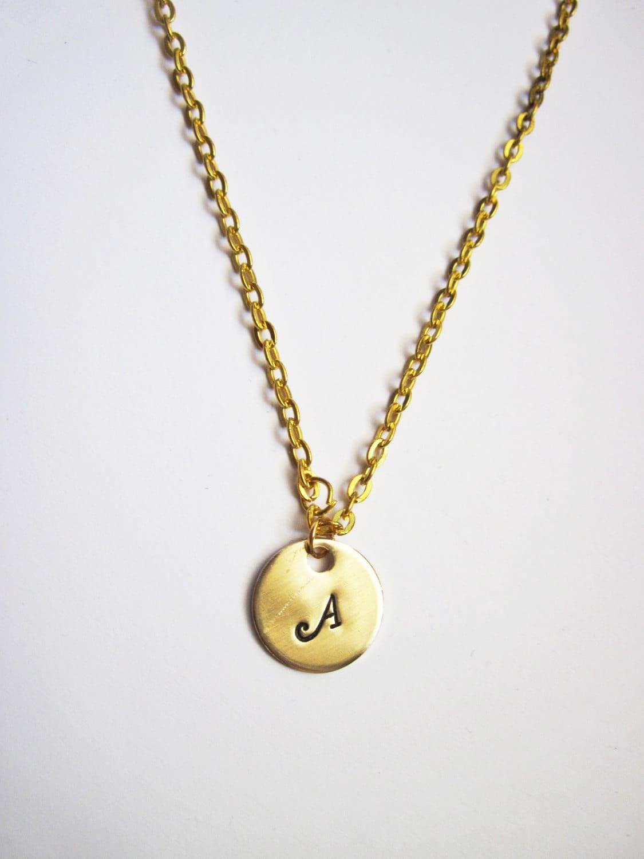 dainty gold initial necklace custom monogrammed gold. Black Bedroom Furniture Sets. Home Design Ideas