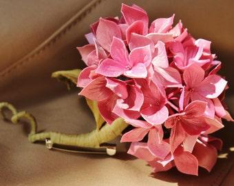 Mother of the bride corsage, wedding anniversary gift, fabric flowers brooch, fabric hydrangea, pink silk hydrangea, textile jewellery