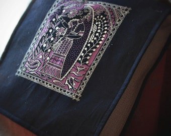 Art Imprinted Cotton & Burlap Messenger Bag