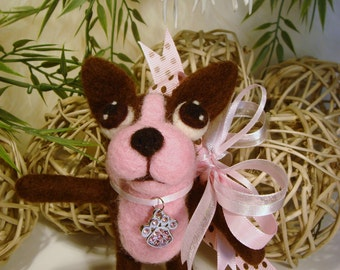 Boston Terrier, Needle Felted Boston Terrier Plushy Doll Dog