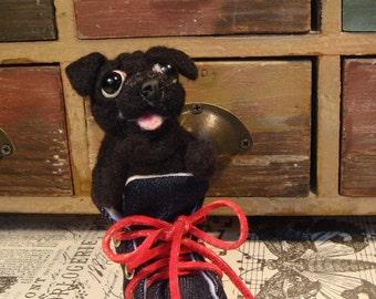 Black Pug, Needle Felted Pug in Sneaker, Handmade Pug, Pug Gifts