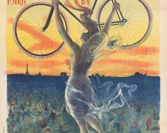 "Vintage Bike Poster - Déesse - French Goddess 13""x19"" or 8.5""x11"" Bike Print"