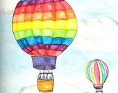Hot Air Balloons Watercolor Print, Colorful Balloon and Basket Painting, Home Decor Wall Art, Flying through the Air Picture for Kids
