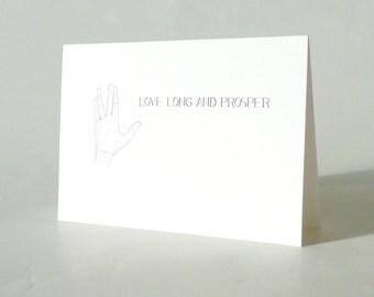 Love Long and Prosper . Star Trek Valentines wedding love card . sci fi nerd geek cards for boyfriend . best friend birthday geekery