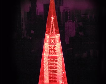Vintage Night Light Lamp Kremlin Tower, Lucite Acrylic Paper Weight, Table Night Lamp 220V