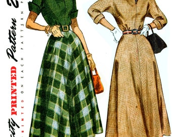 Simplicity 2764 Dress with Gathered Waistline Four Section Slightly Flared Skirt Kimono Sleeves Late 40s Dress Sewing Pattern