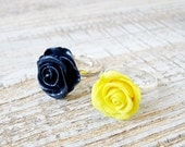 Rose Ring Flower jewelry Adjustable ring Yellow Mint Navy blue ring Hand sculpted