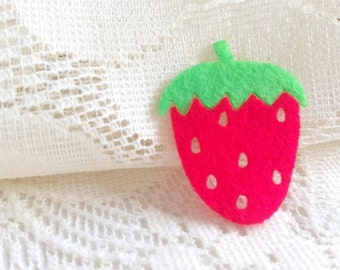 Iron on Applique Red Strawberry, Juicy Summer Fruit, berry, baby shower, spring, kid, woman, felt applique, iron patch, card, scrapbook