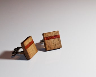 WOODEN CUFFLINKS Square Spalted WALNUT Wood with Red Coral inlay