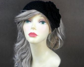 Crochet Ear Warmer In Black Crochet Headband Womens Headband Winter Accessories Crochet Accessories Hair Accessories Womens Accessorie