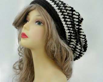 Crochet Slouchy Hat MANY COLORS Womens Beanie Over sized baggy beret Winter Hat Ladies Hat Girls Slouch Hat