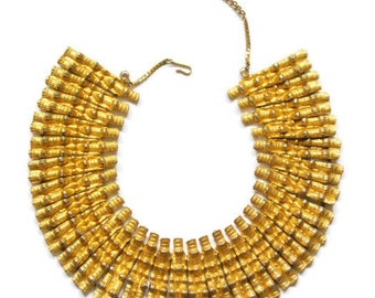 Vintage Mosell Egyptian-Revival Textured Bamboo Gold Necklace