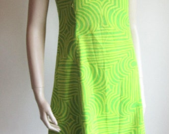 Vintage 60s mini dress lime green yellow psychedelic mini dress  Bust 36