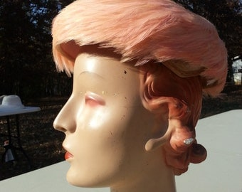 Vintage Pink Feather Hat