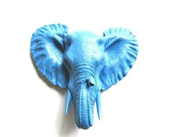 Small Faux Taxidermy Elephant Head in PERIWINKLE BLUE Wall Hanging wall mount / mini elephant / small animal head faux taxidermie / nursery