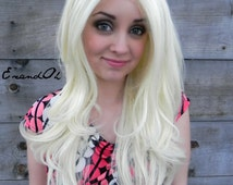 Lace Front Wig, Blonde, Long Wavy Natural Wig, Scene Wig, Cosplay Wig, Realistic Mermaid Hair, Full Body Curly