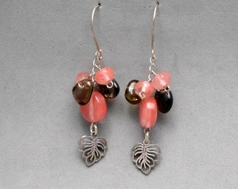Pink Earrings,Long Dangle, Sterling Silver, Cluster of Leaves and Cherry Quartz Beads, Casual, For Any Outfit