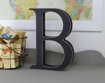 Wood Letters - Free Standing Distressed Wooden Letters - Alphabet Decor Letter B