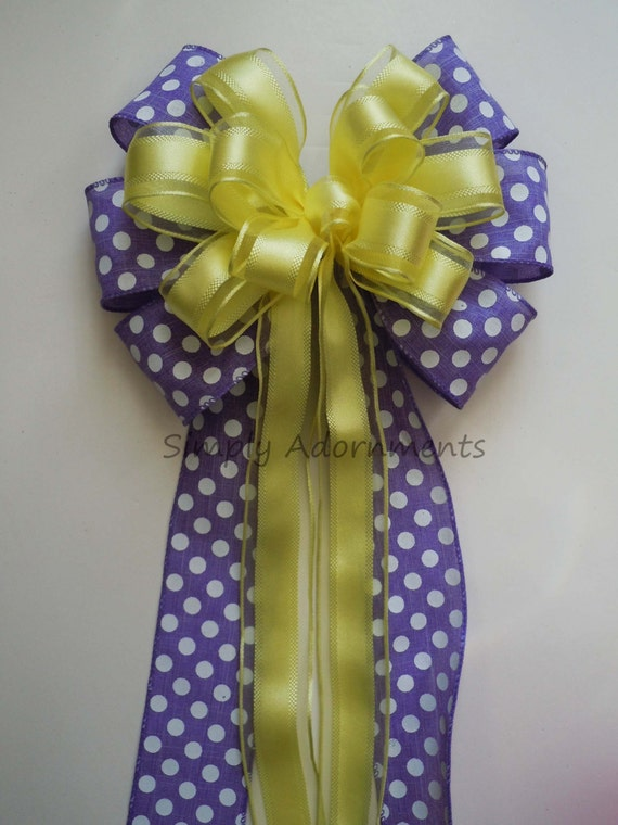 Purple Yellow Spring Wreath Bow Easter Wreath Bow Orchid Yellow Wedding Pew Bow Yellow Purple Polka Dots Birthday Shower Decor Gifts Bow