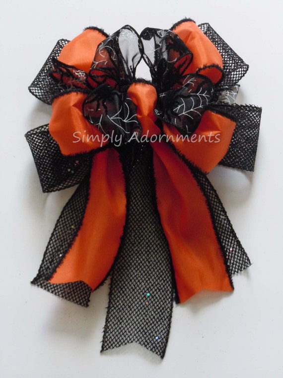 Halloween Black Spider Wreath Bow Orange and Black Spider Halloween lanter swag Bow Spooky Spider Halloween Wreath Bow Halloween Party Decor