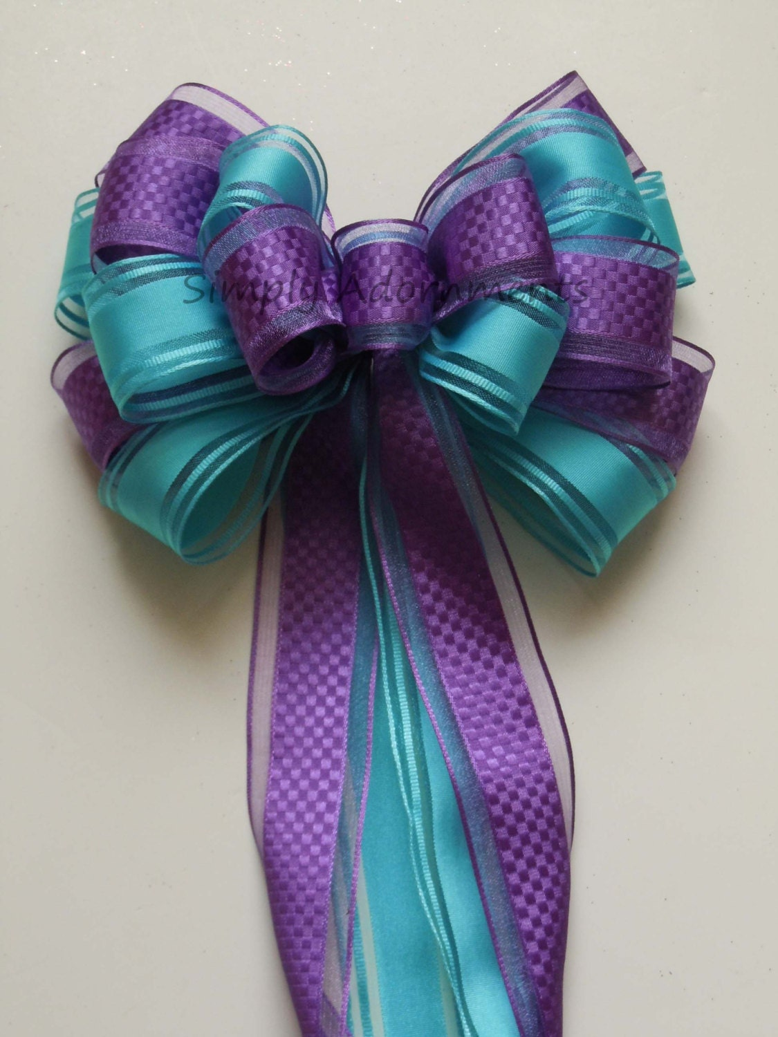 Purple blue peacock wedding pew bow aqua blue orchid party - Bow decorations for weddings ...