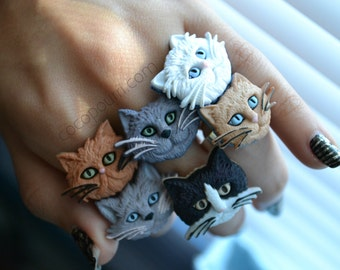 Kitty Cat Face Rings