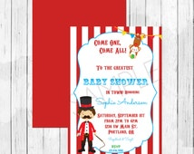 Carnival Circus Themed Baby Shower Invitation - Juggling Invitation - Clown Invitation - Double Sided Evite - DIGITAL FILE ONLY