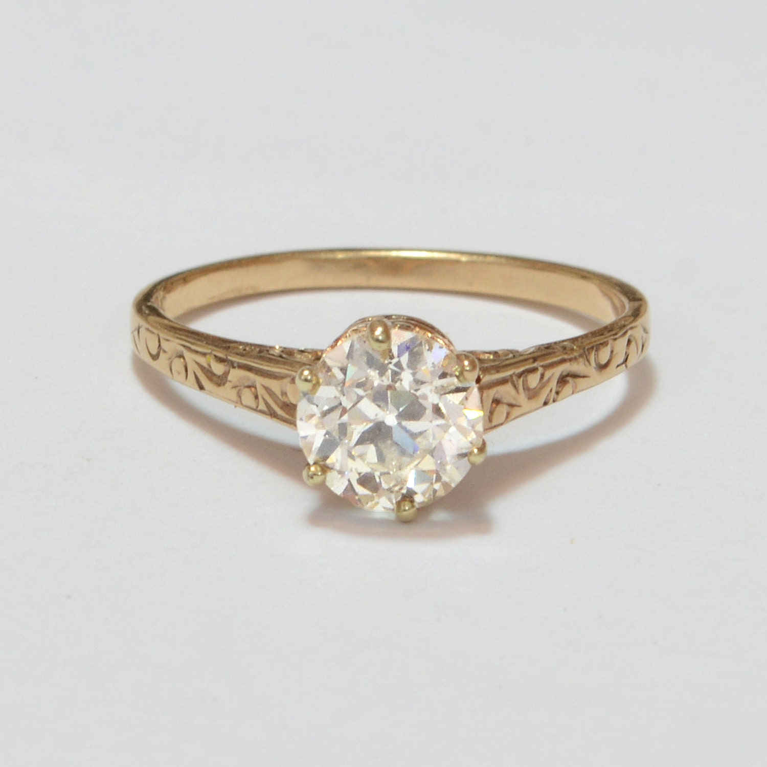 Antique Engagement Ring 10k Rose Gold with by SITFineJewelry