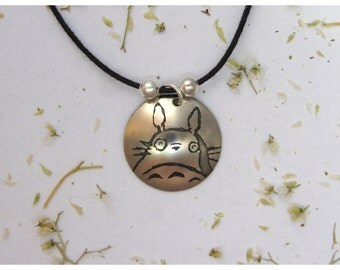 Little Totoro. Etched nickel silver. Handmade by order. Perfect gift for an otaku