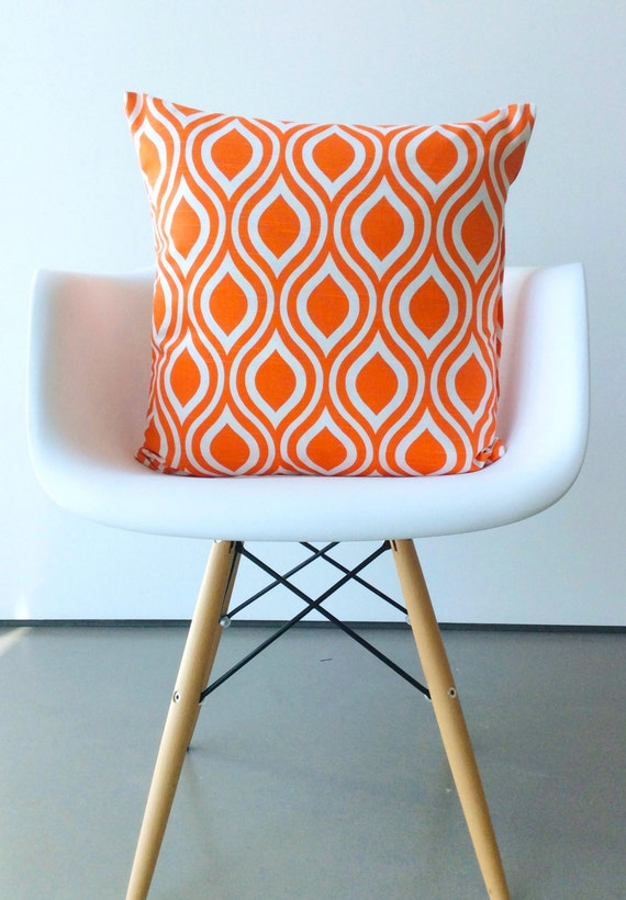 Orange pillow cover One 20x 20 inches Nicole Tangelo Orange cushion cover modern pillows