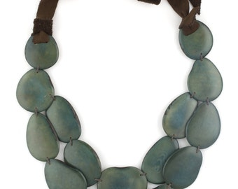 Moss Green Tagua & Leather Statement Necklace - SACHA Style