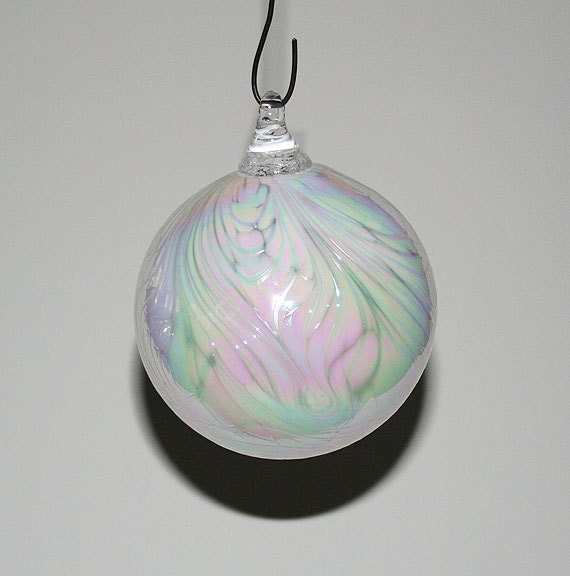 Hand blown glass christmas ornaments mother of pearl white
