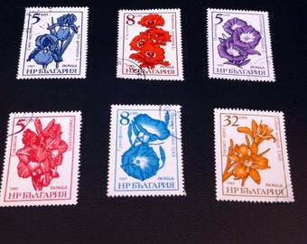 Bulgaria 1985 Flower Stamps with Etched Floral Illustration// DIY  ATC or ACEO// Art Supply or a Great Gift for the Stamp Collector Set of 6