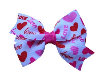 Valentine's Day hair bow- love hair bow