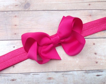 Fuchsia bow headband - fuchsia bow headband, baby headband, newborn headband, baby bow headband, pink headband, pink bow headband