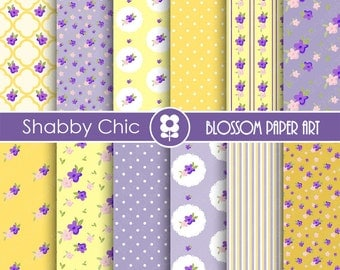 Shabby Chic Digital Paper Floral Blue Yellow Digital Paper Pack, Cottage Scrapbook Paper Pack - INSTANT DOWNLOAD -1736