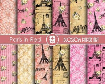 Paris Scrapbook Paper, Eiffel Tower Digital Paper Vintage Digital Paper Pack, Pink, Red, Scrapbooking - INSTANT DOWNLOAD - 1817