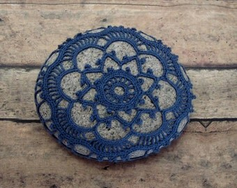 Stone Blue Crocheted Lace Stone, Collectible Beach Art, One of a Kind Unique Gift for Home or Office, Handmade, Tiny Stitches, Table Decor
