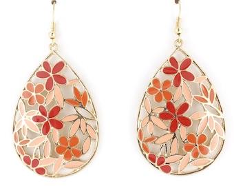 Gold-tone Pink Flower Tear Drop Plate Dangle EARRINGS D6