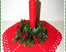 Vintage Christmas Candle Ring, Faux Holly, Berries, Pine, Tacky Xmas Decor, 1960s